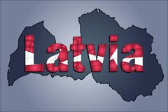 The contours of territory of Latvia and Latvia word in colors of the national flag vector illustration