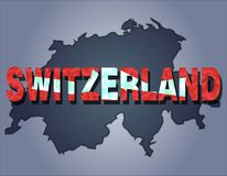 The contours of territory of Switzerland and Switzerland word in the colors of the national flag vector illustration