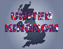The contours of territory of United Kingdom and United Kingdom word in the colors of the national flag vector illustration