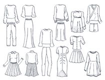 Contours of women`s clothes Royalty Free Stock Photography