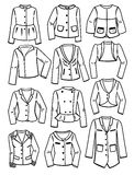 Contours of womens jackets. Set of contours of womens jackets isolated on white background Stock Photo