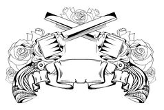 Contourtekening van twee revolvers, rozen en rol vector illustratie