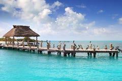 Contoy Insel Mexiko-hölzernes PierNaturreservat Stockbilder