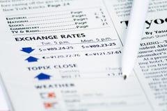 Contrôle aujourd'hui du taux de change Image stock