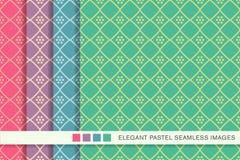 Contrôle réglé Diamond Cross Frame Dot Flo de fond en pastel sans couture Image libre de droits