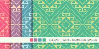 Contrôle réglé Diamond Spiral Cross Frame de fond en pastel sans couture Photographie stock