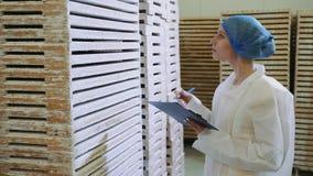 Contrôleur vérifiant l'entrepôt d'usine banque de vidéos