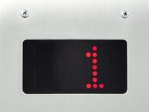Contrôlez l'étage du numéro 1 d'exposition dans l'ascenseur photo stock