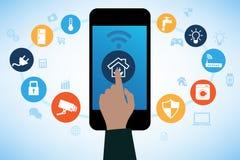 Contrôle à la maison à distance de technologie à la maison futée en ligne Photo libre de droits