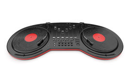Contrôle de mélangeur de musique du DJ avec le disque 3D Images libres de droits