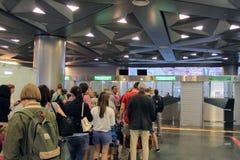 Contrôle de passeport à l'aéroport international Vnukovo Moscou - juillet 2017 Photos libres de droits