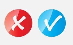 Contrôle rouge et bleu Mark Icons de vecteur Illustration de Vecteur