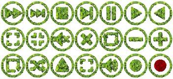 Contrôles de media faits à partir des feuilles vertes sur le fond blanc 3d rendent Image stock