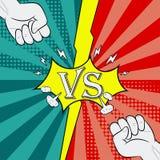 Contra con fondo que lucha del puño del estilo cómico Página de la introducción de la batalla de los héroes Vector ilustración del vector