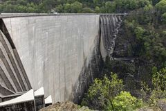 Reinforced concrete dam stock image