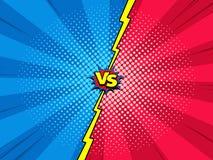 Contra fondo de la plantilla del cómic, introducción de la batalla del super héroe ilustración del vector