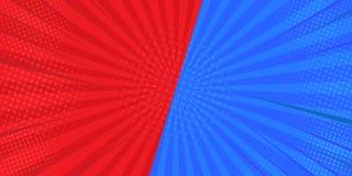 CONTRA fondos que luchan de la comparación en el fondo plano de tebeos En rojo y azul Diseñado del semi-tono ilustrador stock de ilustración
