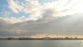 Contra la perspectiva de las nubes de las gaviotas de la comida del gancho agarrador simultáneamente metrajes