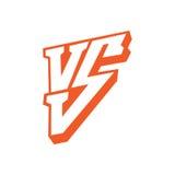 Contra o logotipo das letras Letras vermelhas símbolo liso do estilo de V e de S isolado no fundo branco ilustração do vetor