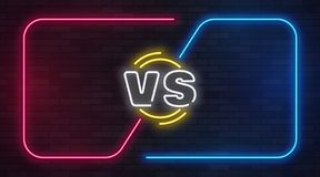 Contra o néon Contra a bandeira do jogo da batalha com quadros vazios de néon O duelo do fósforo de encaixotamento, transforma a  ilustração do vetor