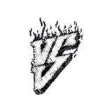 Contra a rotulação da mão do logotipo Competição do símbolo contra com a ilustração do fogo Foto de Stock Royalty Free