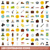 100 contraband icons set, flat style. 100 contraband icons set in flat style for any design vector illustration Royalty Free Stock Image