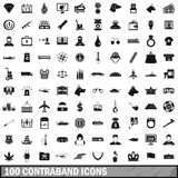100 contraband icons set, simple style. 100 contraband icons set in simple style for any design vector illustration Stock Image