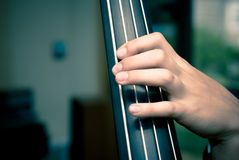 Contrabass. Detail hands on acoustic bass frets Royalty Free Stock Photography