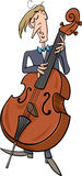 Contrabass musician cartoon Stock Image