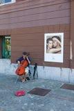 Contrabass Performer In Ljubljana Royalty Free Stock Image