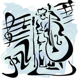 Contrabass player royalty free illustration
