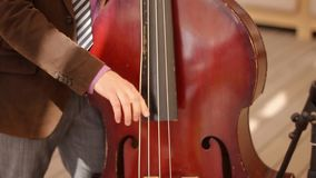 Contrabass player at theatre stock footage
