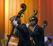 Contrabass players Royalty Free Stock Images