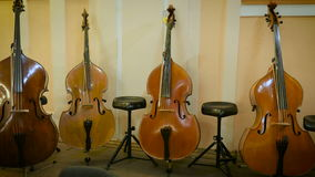 Contrabass stands on stage. 4 contrabass stands on stage stock footage