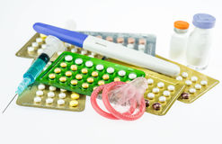 Contraception and birth control pills Stock Photo