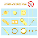 Contraception icons set, birth control Stock Photos