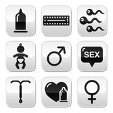 Contraception methods, sex  buttons sex Royalty Free Stock Photos