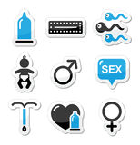 Contraception methods, sex  icons sex Royalty Free Stock Photography