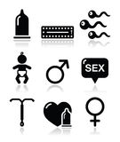 Contraception methods, sex  icons sex Stock Images