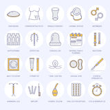 Contraceptive methods line icons. Birth control equipment, condoms, oral contraceptives, iud, barrier contraception. Vaginal ring, sterilization. Safe sex thin Royalty Free Stock Photo