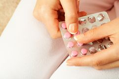 Contraceptive pill. Very shallow DOF stock images