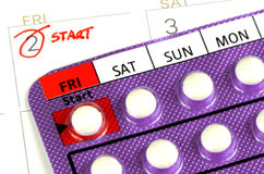 Contraceptive Pill on the Calendar. Royalty Free Stock Photo