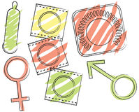 Contraceptives. A set of contraceptive illustrations including condoms, birth control, and symbols for male and female Stock Photo