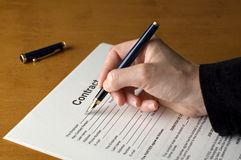 Contract. Fulfilling contract Stock Photo