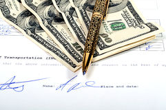 Contract. Signed contract will bring the money Royalty Free Stock Photography