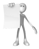 Contract. White guy is holding blank paper sheet - 3d illustration Royalty Free Stock Photo