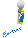 Contract. Writing down a contract, little 3d man with pencil on white background and contract word or text Stock Images