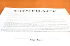 Contract. Document. Shallow depth of field, focus on Sign here text Royalty Free Stock Photo
