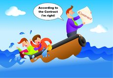 Contract. Sinking boat with man holding up a contract - concept illustration Stock Images