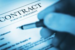 Contract Agreement Documents Stock Images